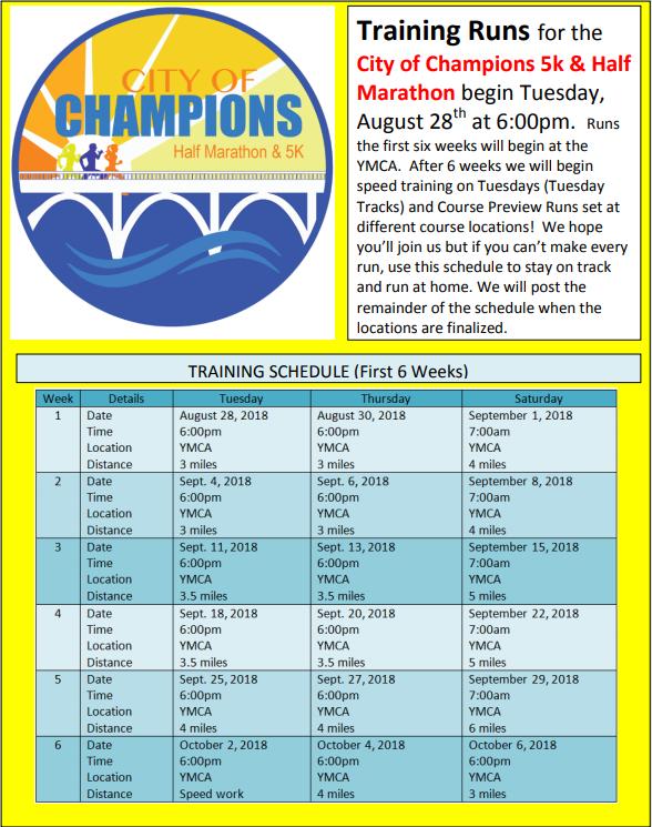 City of Champions Half Marathon Training Runs @ YMCA of the Coosa Valley | Gadsden | Alabama | United States