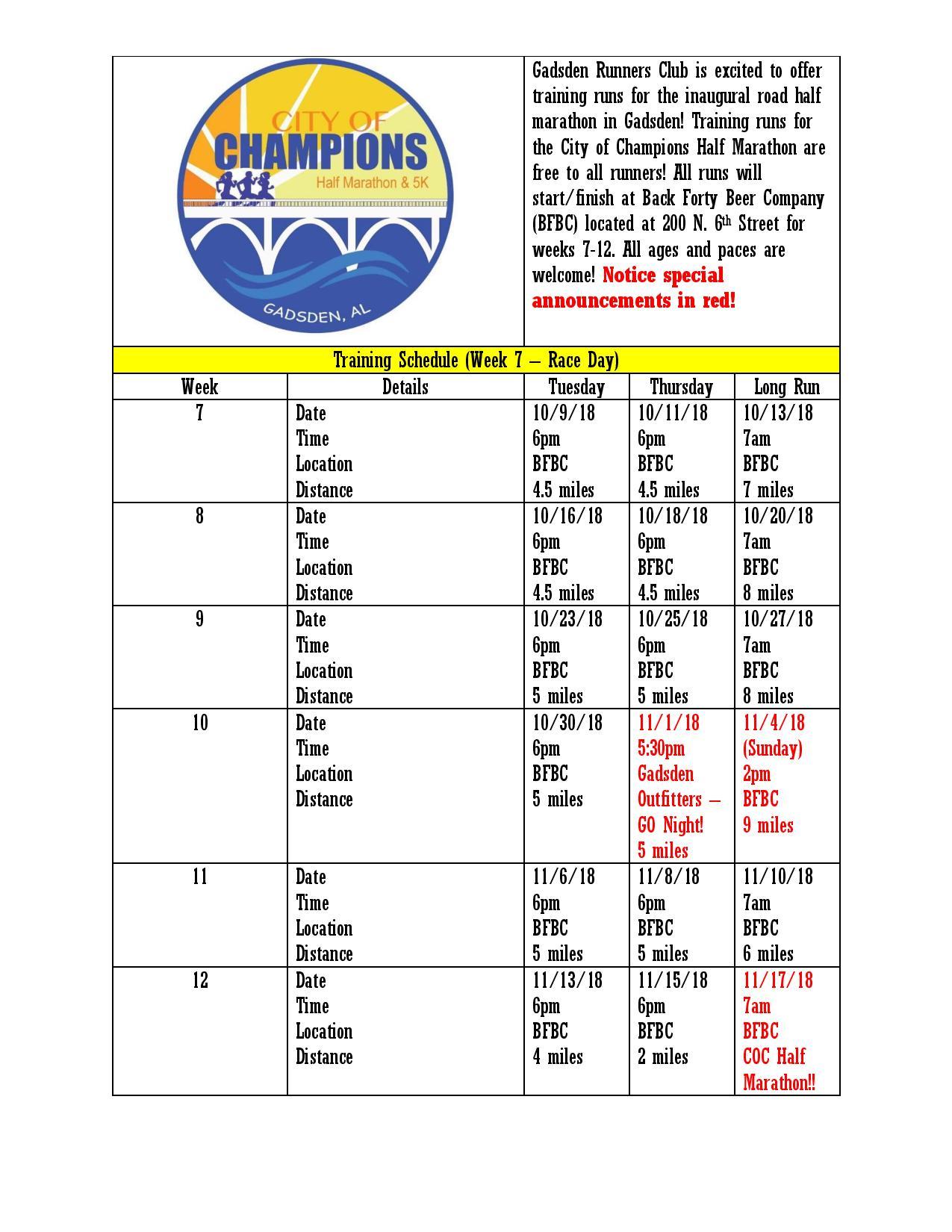 City of Champions Half Marathon Training Runs @ Back 40 Beer Company | Gadsden | Alabama | United States